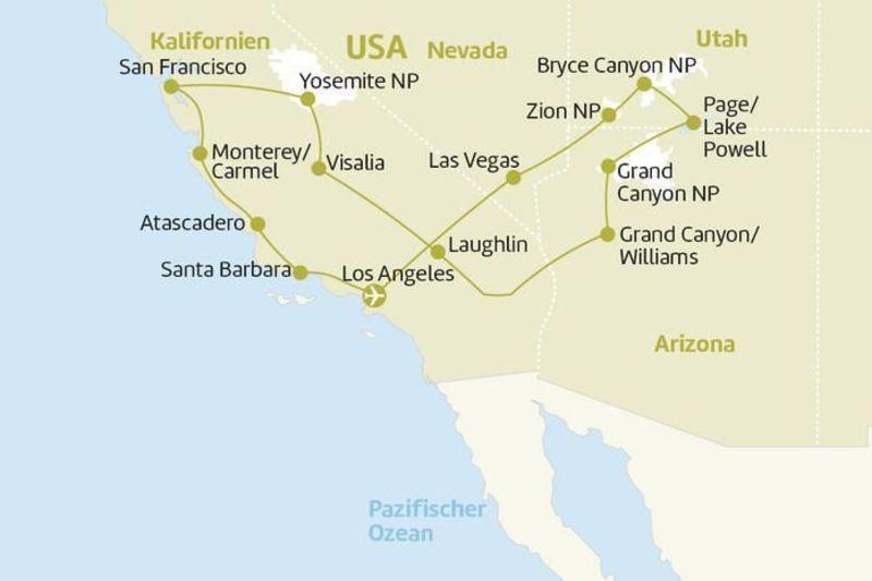 Reiseverlauf_USA_Westen_Berge_und_Meer
